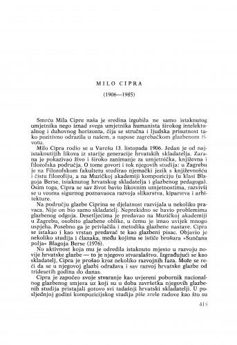 Milo Cipra (1906-1985) : [nekrolozi] / Ivan Supičić
