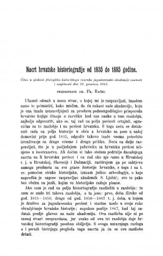Nacrt hrvatske historiografije od 1835 do 1885 godine : RAD
