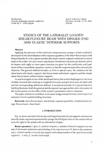 Statics of the laterally loaded shear-flexure beam with hinged end and elastic interior supports