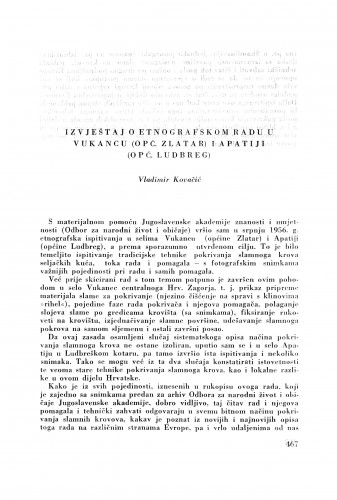 Izvještaj o etnografskom radu u Vukancu (opć. Zlatar) i Apatiji (opć. Ludbreg) / V. Kovačić