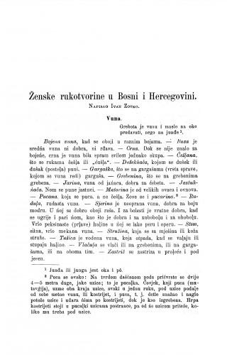 Ženske rukotvorine u Bosni i Hercegovini / I. Zovko