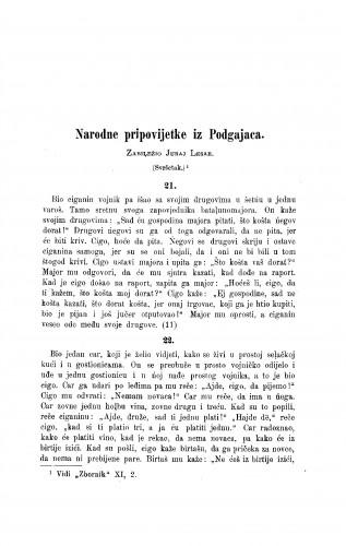 Narodne pripovijetke iz Podgajaca / J. Lesar