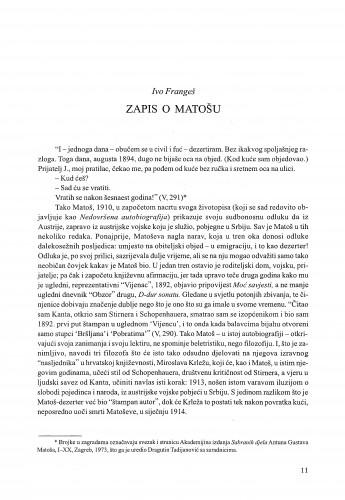 Zapis o Matošu / Ivo Frangeš