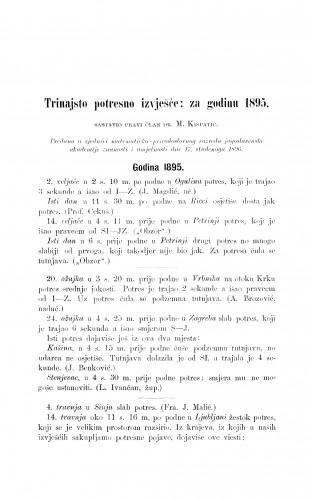 Trinajsto potresno izvješće: za godinu 1895.