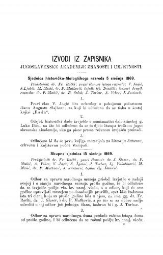 Izvodi iz zapisnika Jugoslavenske akademije znanosti i umjetnosti [1870-1871] : RAD