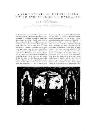 Malo poznata slikarska djela XIV do XVIII stoljeća u Dalmaciji