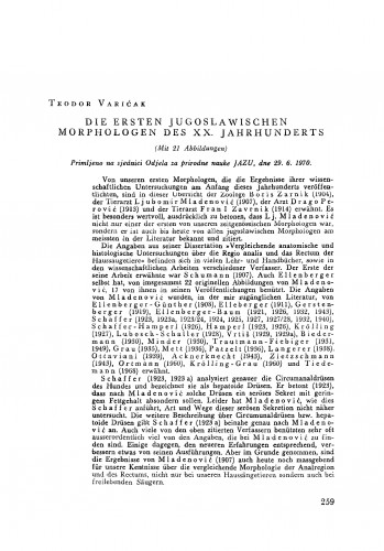 Die ersten jugoslawischen Morphologen des XX. Jahrhunderts