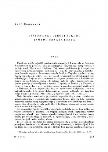 Historijski uzroci sukobu između Hrvata i Srba