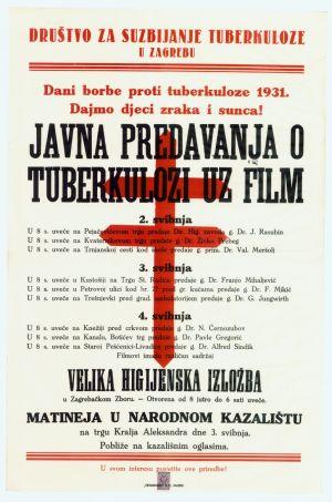 Javna predavanja o tuberkulozi uz film [od 2. do 4. svibnja 1931. godine] Format: