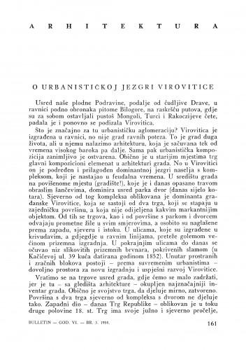 O urbanističkoj jezgri Virovitice : Bulletin Instituta za likovne umjetnosti Jugoslavenske akademije znanosti i umjetnosti