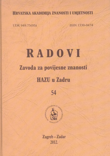 Sv. 54(2012) : Radovi Zavoda za povijesne znanosti HAZU u Zadru