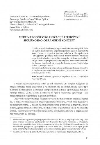Međunarodne organizacije i Europski sigurnosno-obrambeni koncept : Adrias : zbornik Zavoda za znanstveni i umjetnički rad Hrvatske akademije znanosti i umjetnosti u Splitu