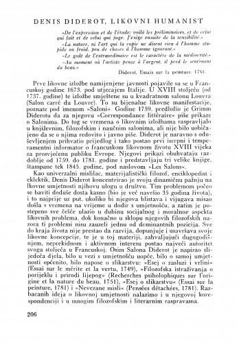 Denis Diderot, likovni humanist : Bulletin Zavoda za likovne umjetnosti Jugoslavenske akademije znanosti i umjetnosti