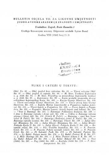 Okić : Bulletin Odjela VII. za likovne umjetnosti Jugoslavenske akademije znanosti i umjetnosti