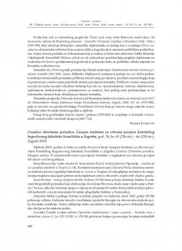 Croatica Christiana periodica. Časopis Instituta za crkvenu povijest Katoličkog bogoslovnog fakulteta Sveučilišta u Zagrebu, god. 34, br. 65 - 66, Zagreb 2010. : [prikaz] : Zbornik Odsjeka za povijesne znanosti Zavoda za povijesne i društvene znanosti Hrvatske akademije znanosti i umjetnosti