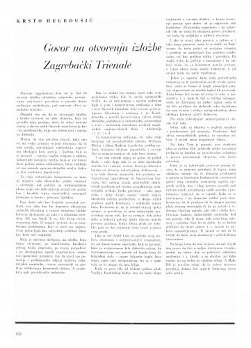 Govor na otvorenju izložbe Zagrebački Triennale : Bulletin Instituta za likovne umjetnosti Jugoslavenske akademije znanosti i umjetnosti