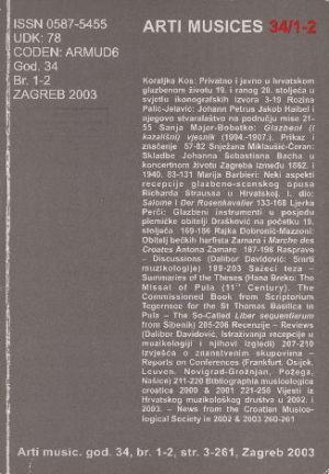 God. 34(2003), br. 1-2 : Arti musices