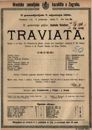 Traviata Glazba od Gius. Verdia / sasavio F. M. Piave