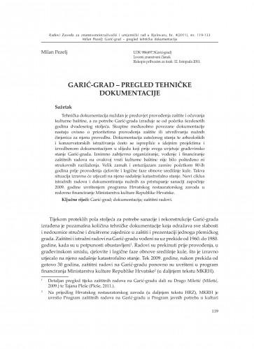 Garić-grad - pregled tehničke dokumentacije : Radovi Zavoda za znanstvenoistraživački i umjetnički rad u Bjelovaru