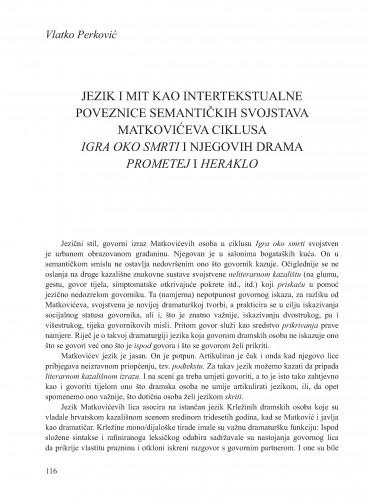 Jezik i mit kao intertekstualne poveznice semantičkih svojstava Matkovićeva ciklusa Igra oko smrti i njegovih drama Prometej i Heraklo : Krležini dani u Osijeku