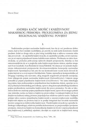 Andrija Kačić Miošić i književnost Makarskog primorja: prolegomena za jednu regionalnu književnu povijest