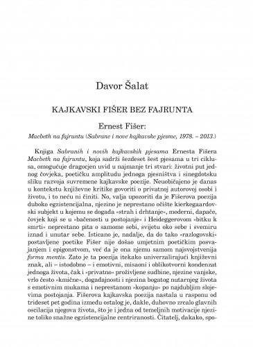 Kajkavski Fišer bez fajrunta : Ernest Fišer: Macbeth na fajruntu (Sabrane i nove kajkavske pjesme, 1978.-2013.) : Forum : mjesečnik Razreda za književnost Hrvatske akademije znanosti i umjetnosti.