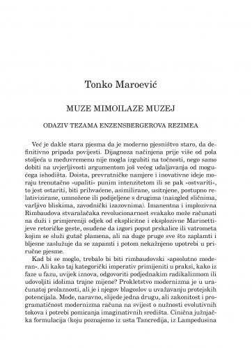 Muze mimoilaze muzej : Forum : mjesečnik Razreda za književnost Hrvatske akademije znanosti i umjetnosti.