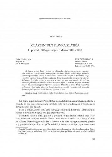 Glazbeni put Slavka Zlatića : u povodu 100. godišnjice rođenja (1910. - 2010.) : Problemi sjevernog Jadrana
