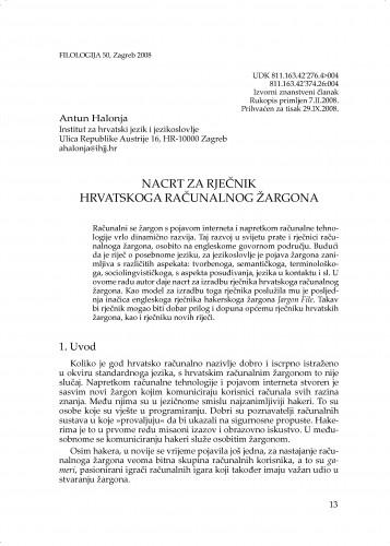 Nacrt za rječnik hrvatskoga računalnog žargona : Filologija : časopis Razreda za filološke znanosti Hrvatske akademije znanosti i umjetnosti