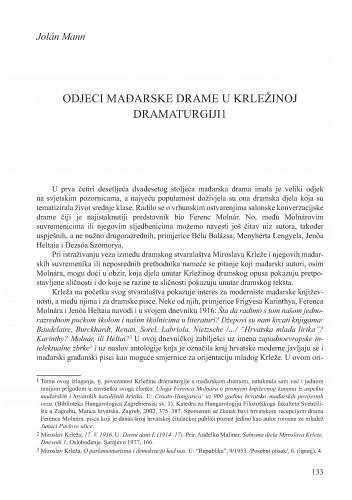 Odjeci mađarske drame u Krležinoj dramaturgiji : Krležini dani u Osijeku