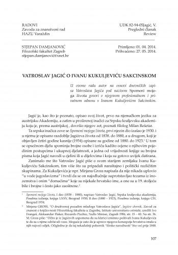 Vatroslav Jagić o Ivanu Kukuljeviću Sakcinskom : Radovi Zavoda za znanstveni rad Varaždin