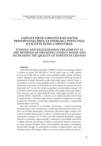 Zahvati njege i obnove kao načini pridobivanja drva za energiju i povećanja kvalitete šuma u Hrvatskoj