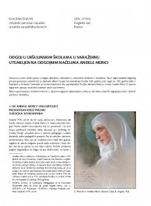 Odgoj u uršulinskim školama u Varaždinu utemeljen na odgojnim načelima Anđele Merici