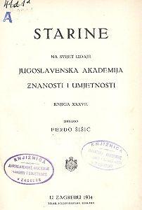 Knj. 37(1934) : Starine