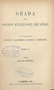 Knj. 03(1901) : Građa za povijest književnosti hrvatske