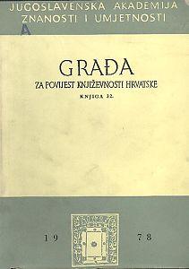Knj. 32(1978) : Građa za povijest književnosti hrvatske