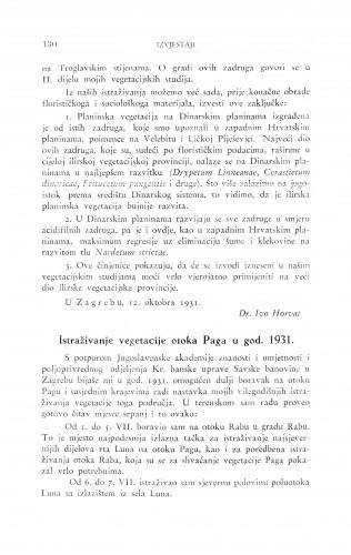 Istraživanje vegetacije otoka Paga u god. 1931. / S. Horvatić