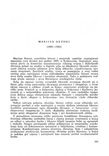Marijan Detoni (1905-1981) : [komemoracija i nekrolozi] / A. Mohorovičić