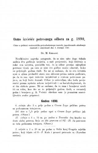 Osmo izviešće potresnoga odbora za g. 1890.