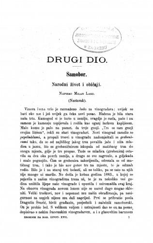 Samobor : narodni život i običaji / M. Lang
