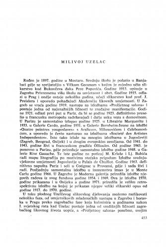 Milivoj Uzelac : [biografije novih članova Akademije]