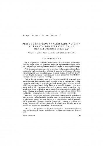 Prilog genetskoj analizi radijacionih mutanata kod tetrapoloidnih i heksapoloidnih pšenica