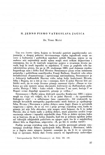 Iz pisama Vatroslava Jagića : jedno pismo Vatroslava Jagića / Tomo Matić