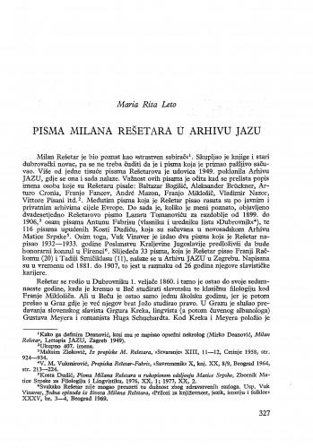 Pisma Milana Rešetara u Arhivu JAZU / Maria Rita Leto