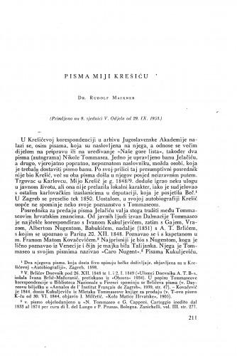 Pisma Miji Krešiću / [priredio] Rudolf Maixner