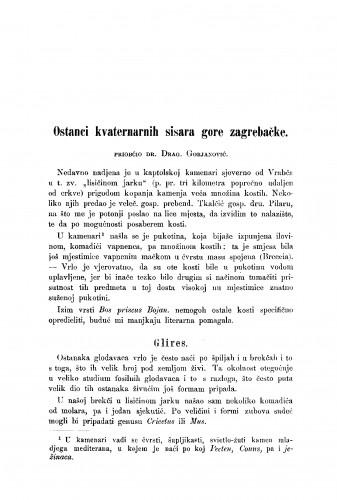 Ostanci kvaternarnih sisara gore zagrebačke