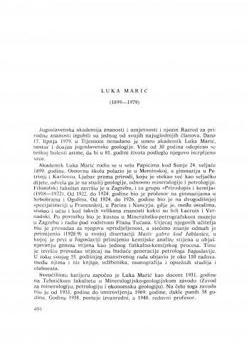 Luka Marić (1889-1979) : [nekrolozi] / V. Majer