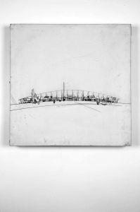 Olimpijski stadion na Banjici, Beograd; projekt za natječaj Nacrt, presjek