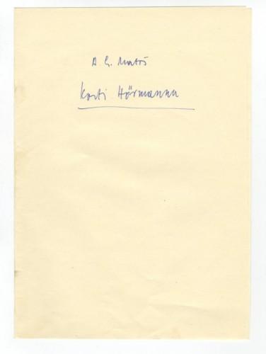 Korespondencija upućena Kosti Hörmannu