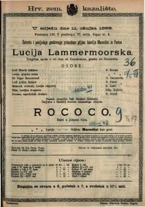 Lucija Lammermoorska ; Rococo Tragična opera u tri  čina ; Balet u jednom činu / glazba od Donizettia
